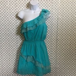 2B Bebe turquoise over the shoulder gauze lace